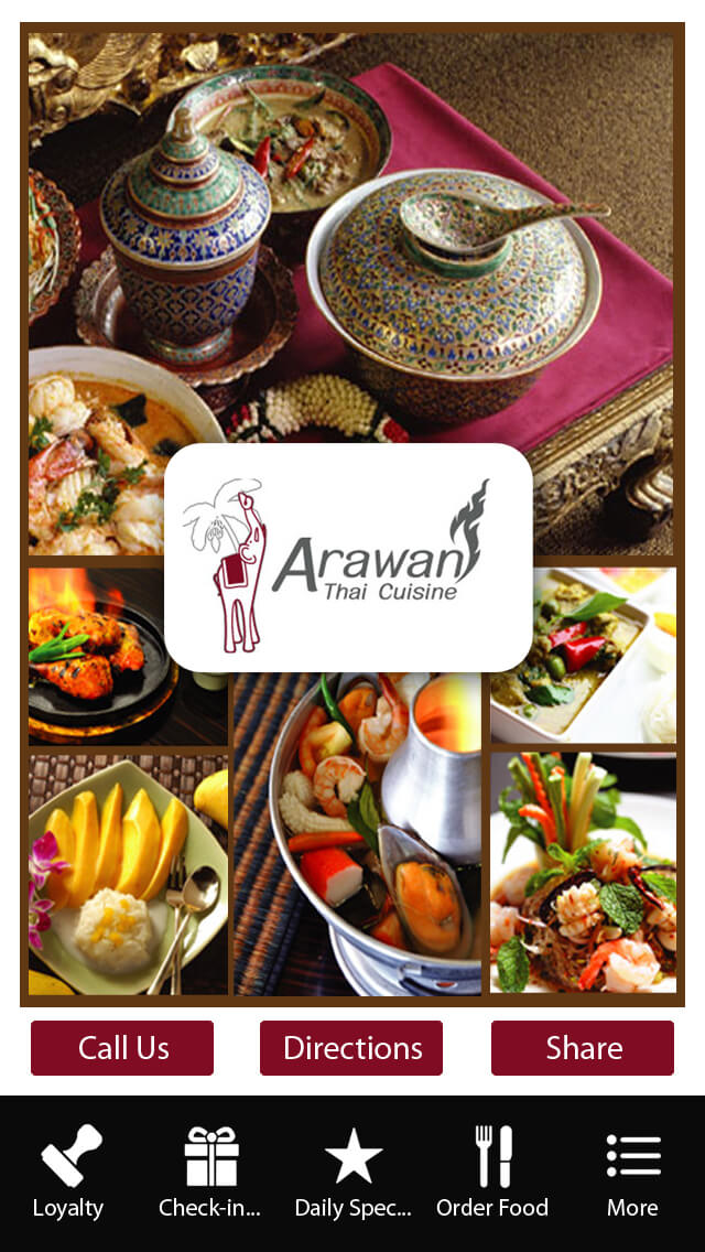 Arawan thai cuisine zing apps mobile apps for schools for Arawan thai cuisine menu